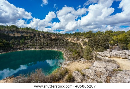 Wide angle of round lake crater in palancares, Cuenca - stock photo