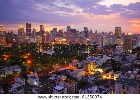 Wide angle over lumipini park view of Bangkok, Thailand. - stock photo