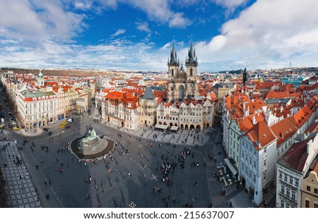 Wide angle panorama of central square of Prague, Czech Republic. View from the top - stock photo
