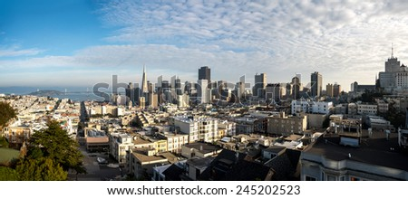 Wide angle panoramic aerial view of downtown San Francisco taken from above Russian Hill - stock photo