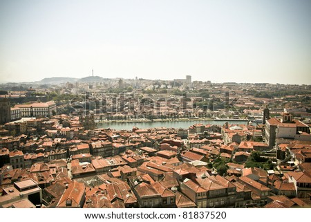Wide angle panoramic view of Porto city in Portugal - stock photo