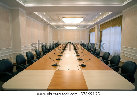 wide angle shot of an empty business meeting and conference room - stock photo