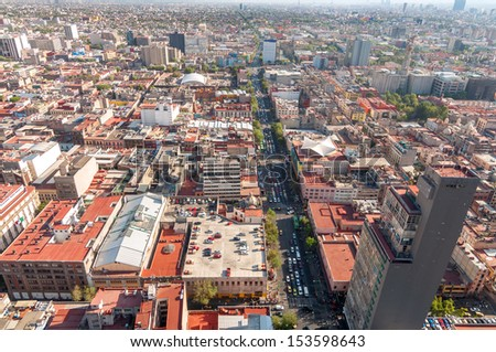 Wide angle view of Mexico City - stock photo