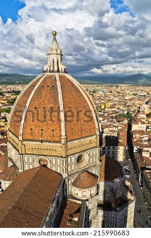 Wide angle view on a dome of Santa Maria del Fiore cathedral in Florence, Italy - stock photo