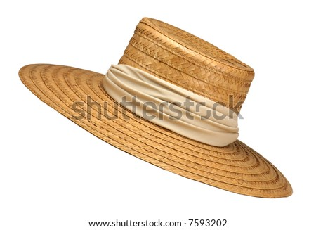 Wide-Brimmed Straw Hat with Beige Ribbon Isolated on White - stock photo