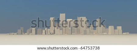 wide 3D cityscape model at daytime with a blue sky in the background and a bit foggy atmosphere - buildings are casting no shadows - stock photo