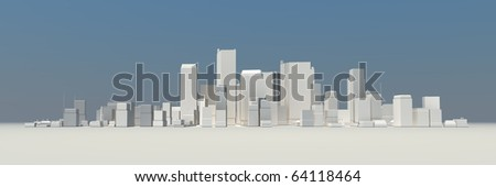 wide 3D cityscape model at daytime with a blue sky in the background - buildings are casting no shadows - stock photo