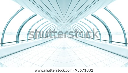 wide diminishing business corridor - stock photo