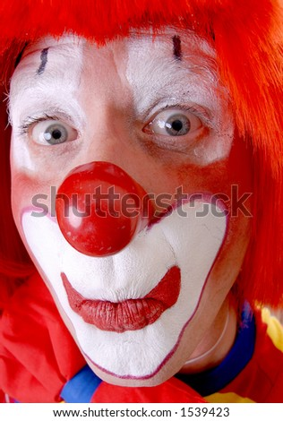 Wide-Eyed Clown - stock photo