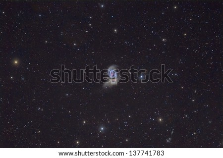 Wide Field View of M51, The Whirlpool Galaxy - stock photo