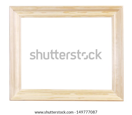 wide light wood picture frame with cutout canvas isolated on white background - stock photo