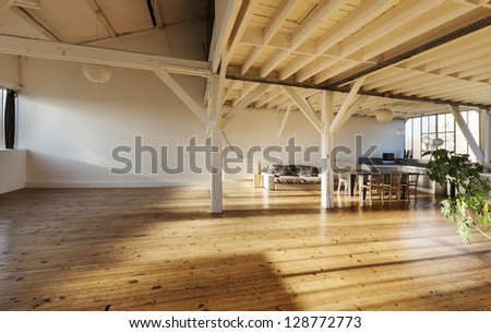 wide loft, beams and wooden floor - stock photo