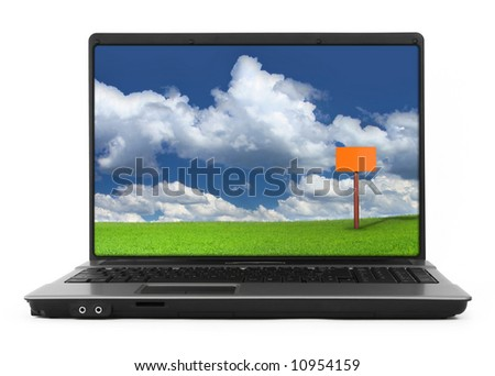 wide notebook with landscape against white background, natural shadow in front, photo inside is my property - stock photo