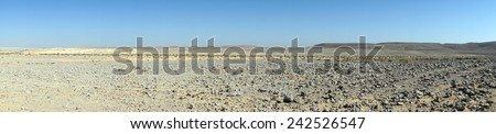 Wide panorama of Negev desert in Israel                                - stock photo