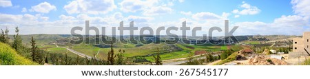 Wide panorama of Palestinian villages al'Alaqa al Fawqa and Rabud