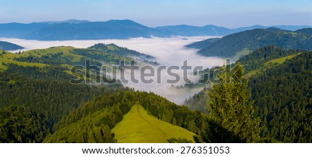 Wide panorama of the Carpathian mountains, Ukraine. Morning fog in the valley between the mountains - stock photo