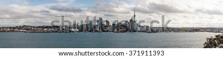 Wide panoramic view of Auckland central, New Zealand - stock photo