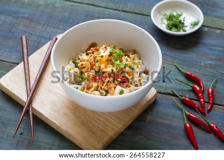 Wide Rice Noodle Rolls(Kuay Teow Lot) - stock photo