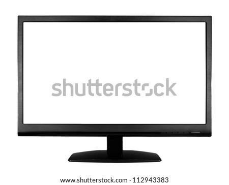 Wide screen high definition LCD monitor isolated on white background - stock photo