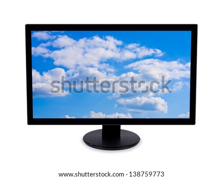Wide-screen monitor with cloudy sky image on screen. Isolated on white background. - stock photo