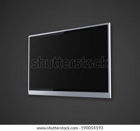 wide screen TV on a gray background - stock photo