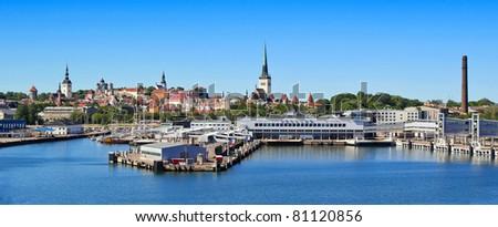 Wide shot of the Capital Tallinn, Estonia - stock photo