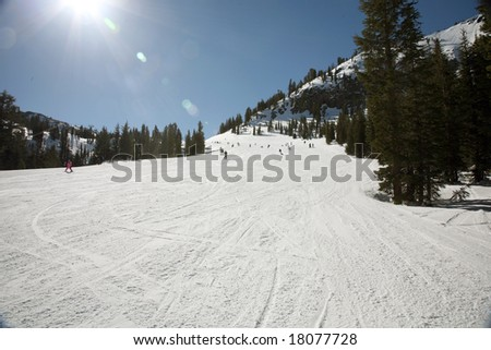 wide ski track at a california ski station - stock photo