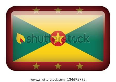 Wide square flag button series - Grenada - stock photo