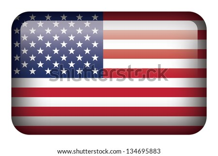 Wide square flag button series - United States - stock photo