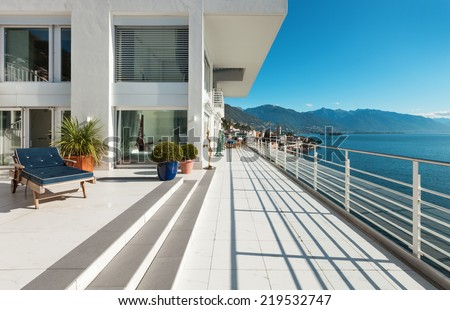 wide terrace of a penthouse, outside  - stock photo