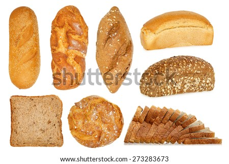 wide variety of bread isolated on white - stock photo