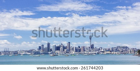Wide view cityscape of Auckland, New Zealand - stock photo