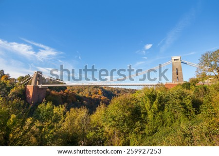 Wide view of Clifton Suspension Bridge in Bristol, England, UK - stock photo
