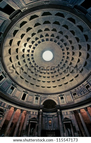 Wide view of the Pantheon Interior, Rome, Italy - stock photo