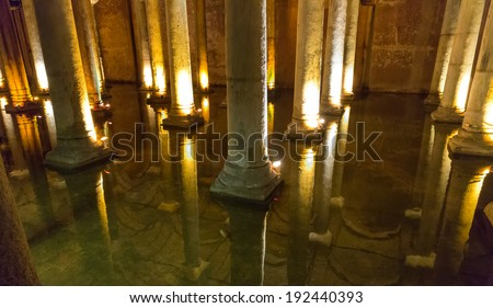 Wide view of Underground Basilica Cistern and reflections, Istanbul, Turkey - stock photo