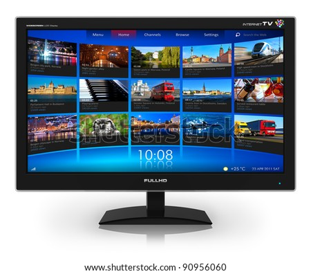 Widescreen TV with streaming video gallery isolated on white reflective background - stock photo