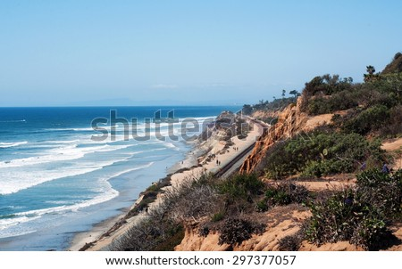 Wideshot of the Del Mar, California coastline, with ocean, cliffs and railroad tracks. - stock photo