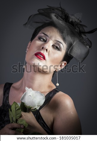 Widow At Funeral. Portrait of young girl - stock photo