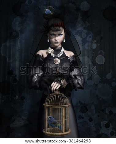 Widow with empty cage - stock photo