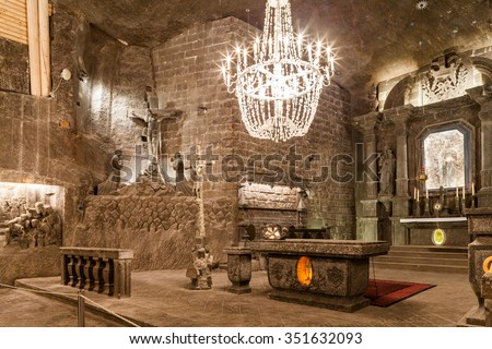 Wieliczka - Poland - April 23. The Chapel of St. Kinga is the most famous chamber in underground Wieliczka salt museum. Chapel is located 101 meters underground. Wieliczka - Poland - April 23, 2015 - stock photo