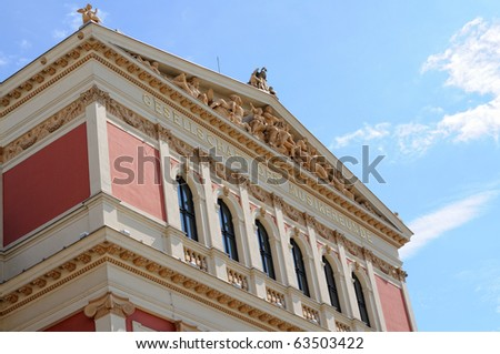 """Wiener Musikverein, (English: """"Viennese Music Association""""), commonly just quoted The Musikverein, has a twofold meaning: it is the name of its famous Vienna concert hall - stock photo"""