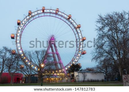 Wiener Riesenrad, Famous Ferris Wheel in Wien - stock photo