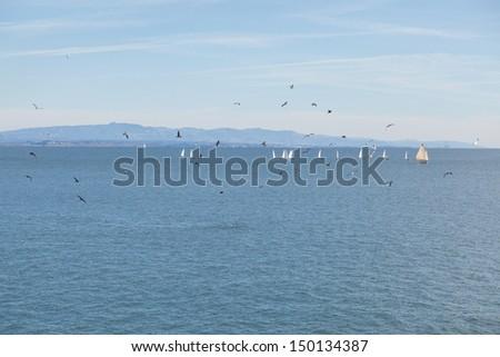 Wiew of the Monterey Bay, the Santa Cruz wharf on sunny day. - stock photo