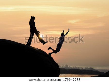 Wife betrayed her husband by the kick - stock photo