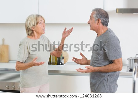 Wife quarrelling with her husband in the kitchen - stock photo