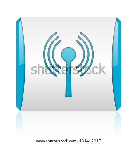 wifi blue and white square web glossy icon - stock photo