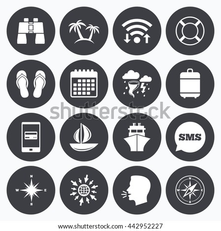 Wifi, calendar and mobile payments. Cruise trip, ship and yacht icons. Travel, lifebuoy and palm trees signs. Binoculars, windrose and storm symbols. Sms speech bubble, go to web symbols. - stock photo