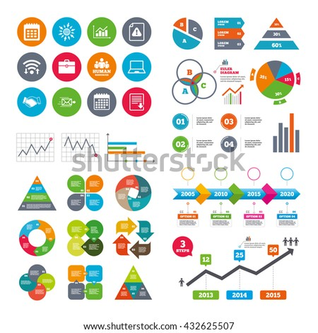 Wifi, calendar and web icons. Office, documents and business icons. Human resources, handshake and download signs. Chart, laptop and calendar symbols. Diagram charts design. - stock photo