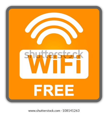 WiFi Free Sign With Orange Square Glossy Style Icon Isolate on White Background - stock photo