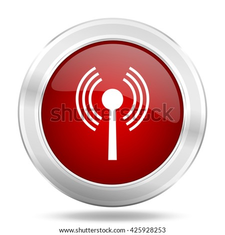 wifi icon, red round metallic glossy button, web and mobile app design illustration - stock photo